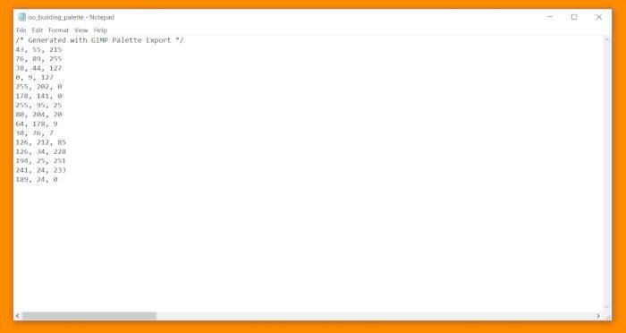 GIMP Palette Handledning Kod CSS Dokument Organiserad