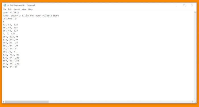 GIMP Palette Tutorial Code CSS-dokument med titel