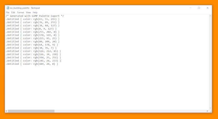 GIMP Palette handledningskod CSS-dokument