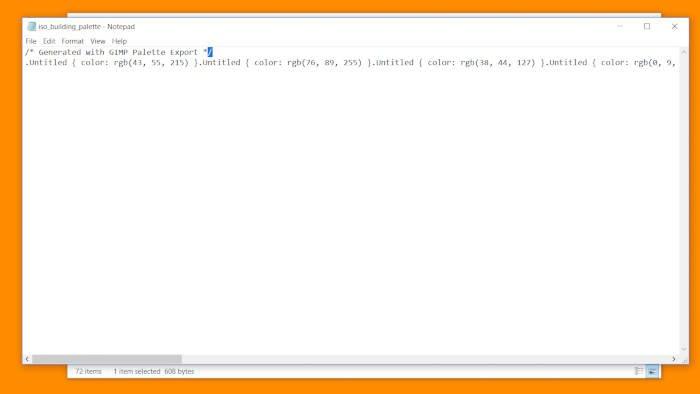 Palette CSS-dokument från GIMP-koden