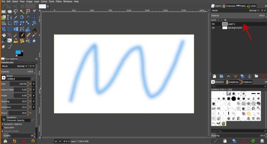 Top Layer u sloju slaganje Red GIMP 2 10