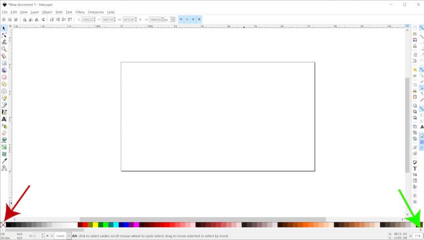 Цветовая палитра Бар Inkscape Цвета объяснил