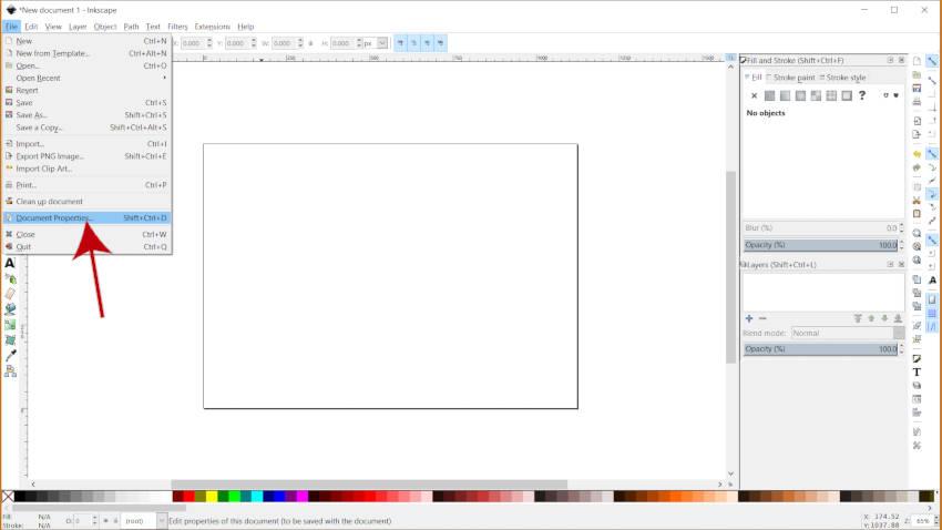 Меню свойств документа Учебное пособие по Inkscape