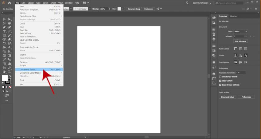 Параметр настройки документа Adobe Illustrator Artboard