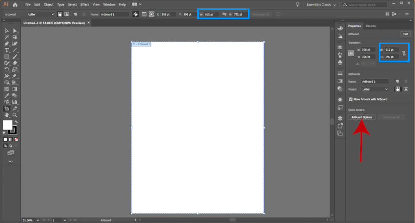 Изменить Adobe Illustrator Artboard Ширина и Высота