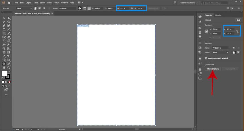 Edit Adobe Illustrator Artboard Width and Height