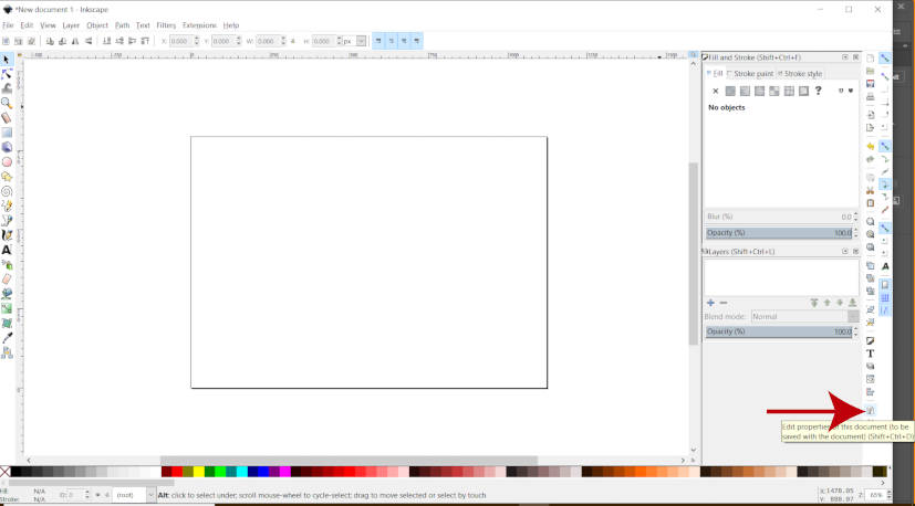 Редактировать свойства документа в Inkscape
