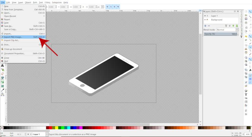 ファイルエクスポートPNG画像Inkscapeチュートリアル