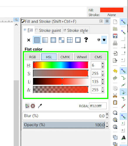 Диалог Fill and Stroke закрывает Inkscape против Illustrator