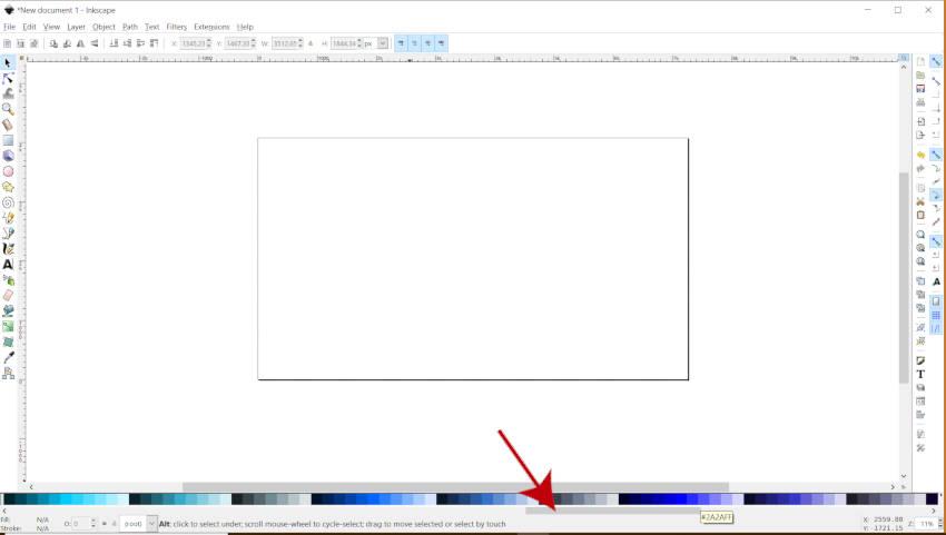 Функция полосы прокрутки палитры цветов Inkscape