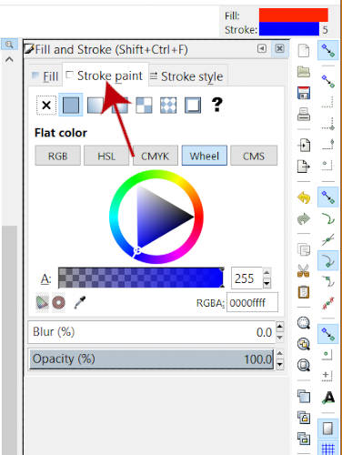 Inkscape Color Wheel Stroke Menu