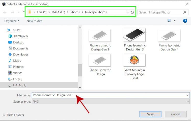 Inkscape File Explorer PNGへのエクスポート