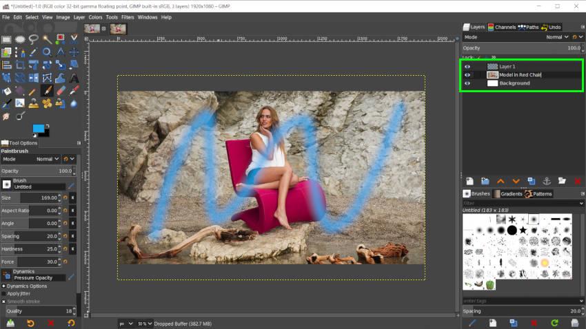 Transparencia de capas en tres capas de GIMP