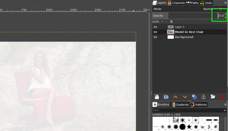 Cambiar manualmente el valor del control deslizante de opacidad en GIMP