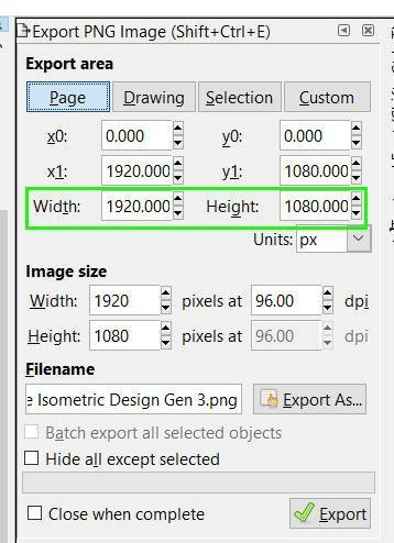 Width and Height inkscape export png image