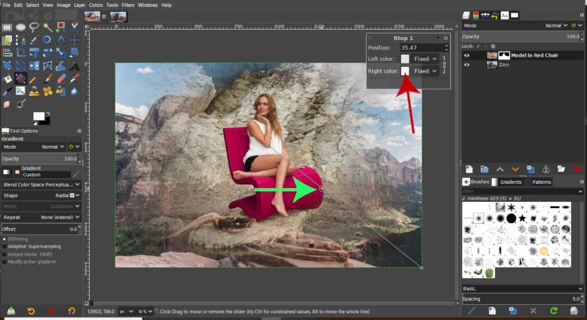 A színátmenet-stop szín beállítása A GIMP rétegmaszk bemutatója