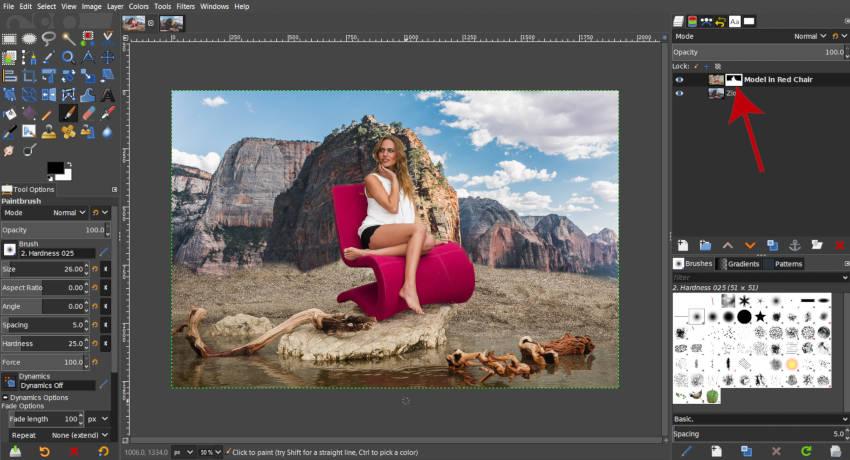 Két fénykép keverése a GIMP rétegmaszkkal