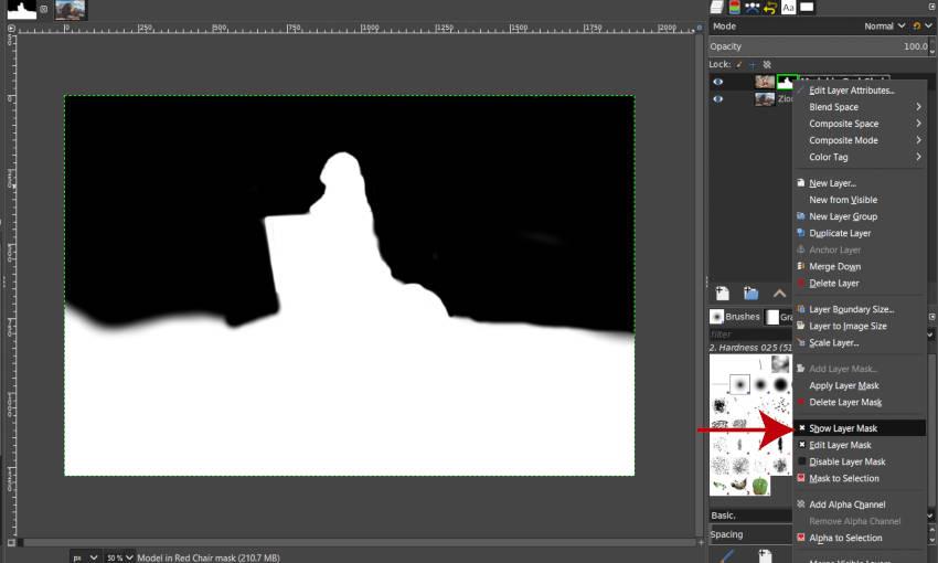 Kapcsolja ki a Rétegmaszk megjelenítése lehetőséget a GIMP Rétegek Kontext menüben