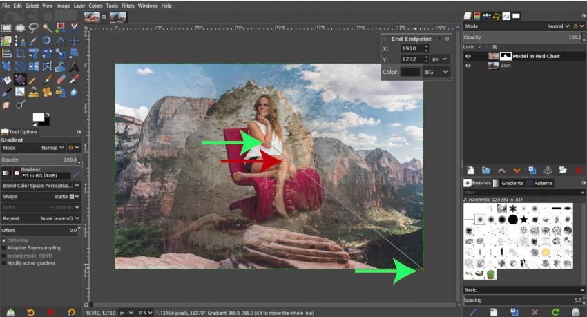 Radiális gradiens GIMP rétegmaszk bemutatójának rajzolása