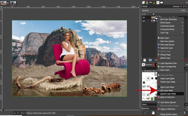 Rétegmaszk szerkesztése a GIMP Réteg Kontextus menüben