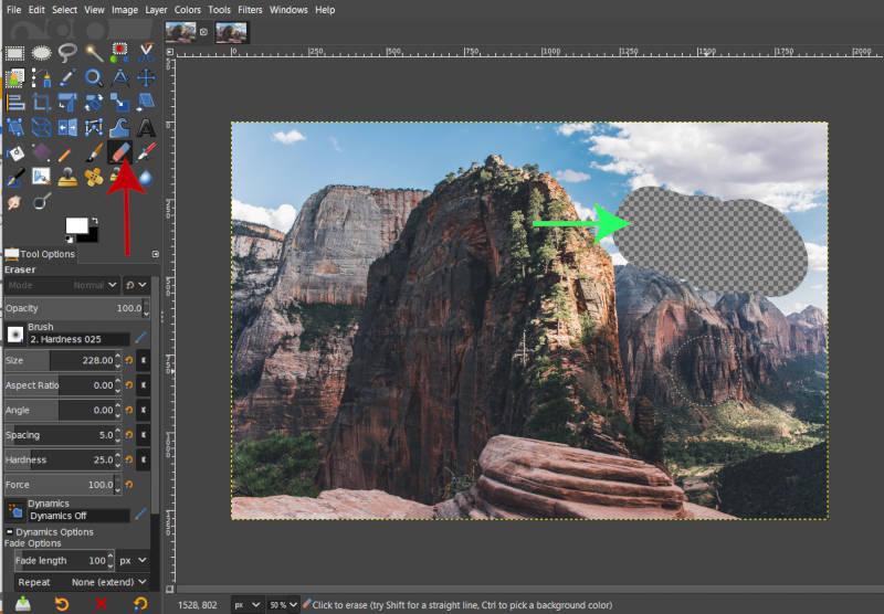 Kép törlése az átlátszóság feltárása érdekében a GIMP 2 10 alkalmazásban