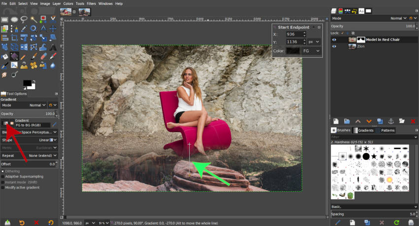 FG – BG színátmenet a GIMP rétegmaszk bemutatóján