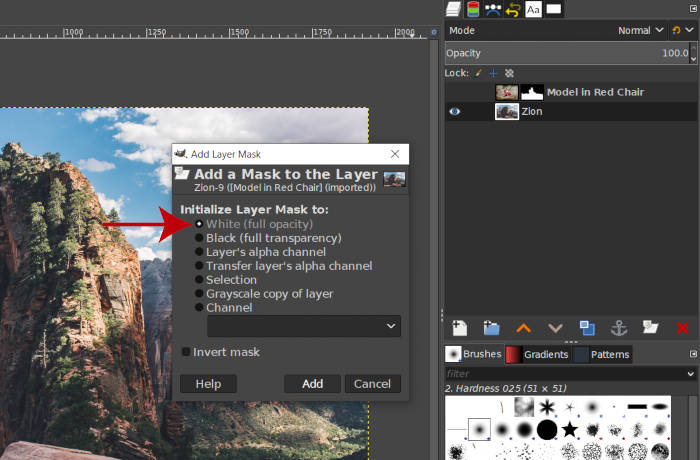 GIMP Layer Mask Initialize to White Full Opacity