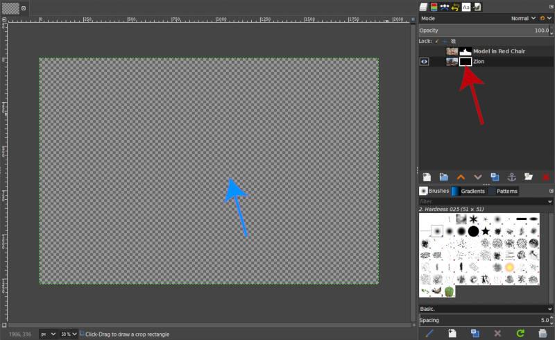 A GIMP rétegmaszk bemutatója fekete teljes átlátszósággal