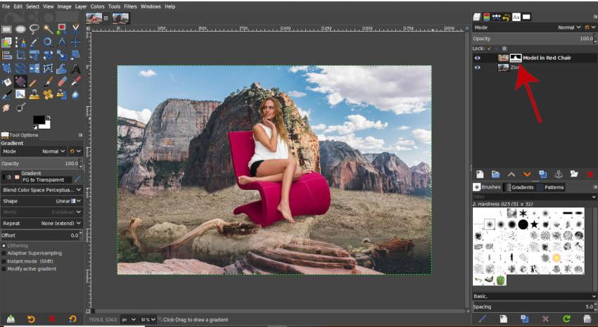 GIMP rétegmaszk színátmeneti miniatűrtel