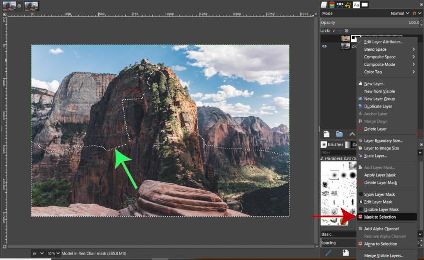 GIMP maszk a kiválasztáshoz Rétegmaszk kiválasztása