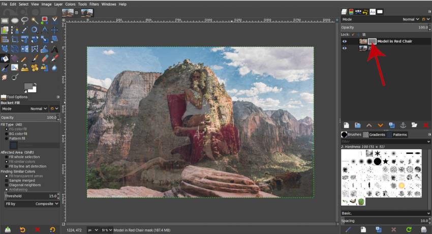 Szürke rétegű maszk A GIMP rétegek bemutatója