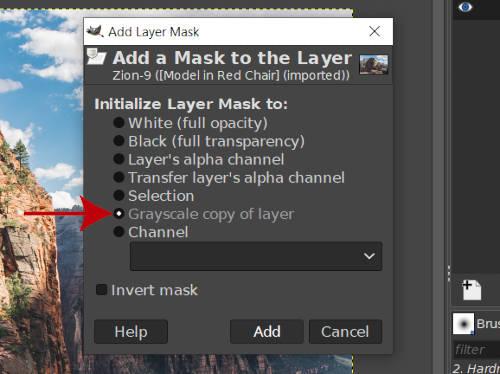 Réteg GIMP rétegmaszk szürkeárnyalatos másolata