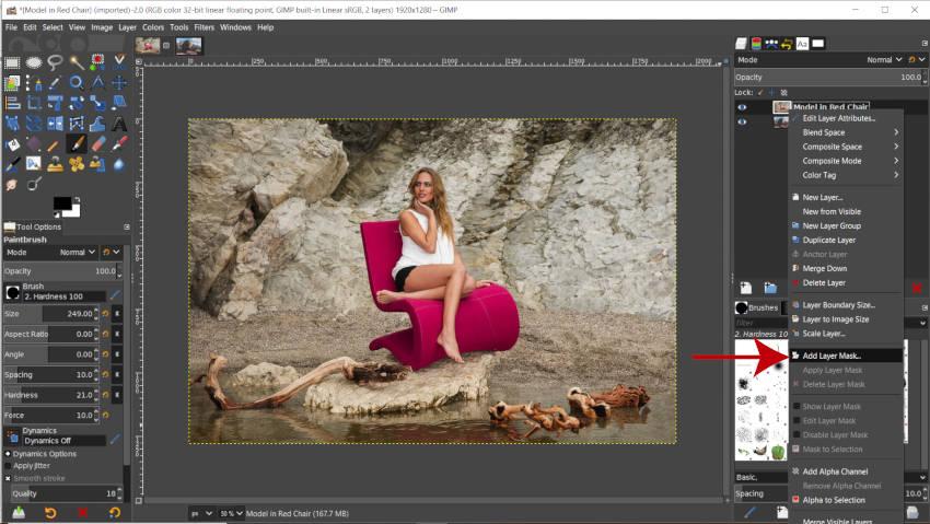 Rétegmaszk hozzáadása a GIMP bemutatójában