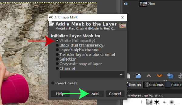 Initialize Layer Mask to White GIMP Layer Masks