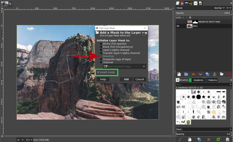 A kiválasztott rétegmaszk invertálása, GIMP bemutató