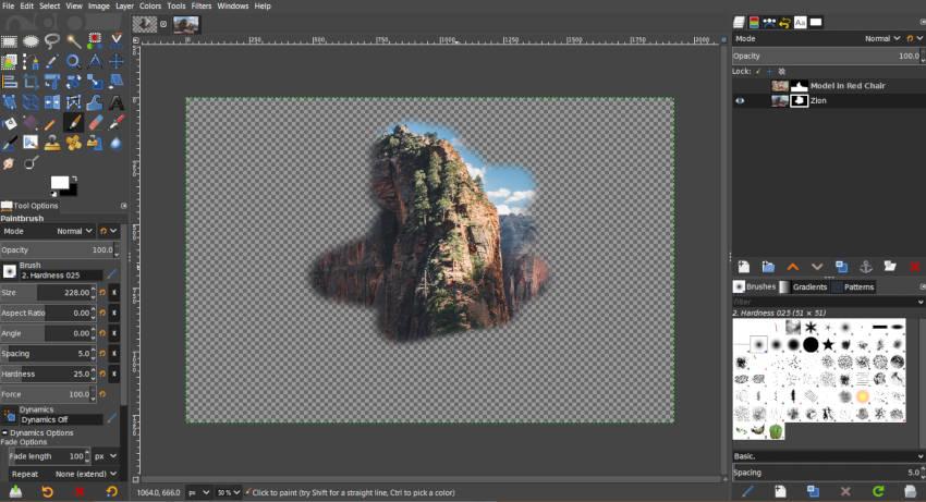 Fehér festés egy fekete rétegű maszkra a GIMP-ben