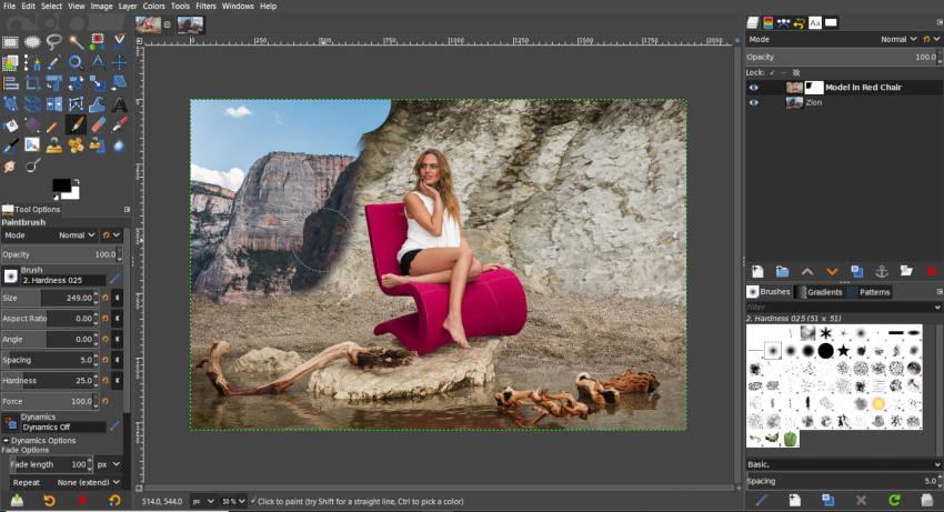 Festés puha kefével egy GIMP rétegmaszkra