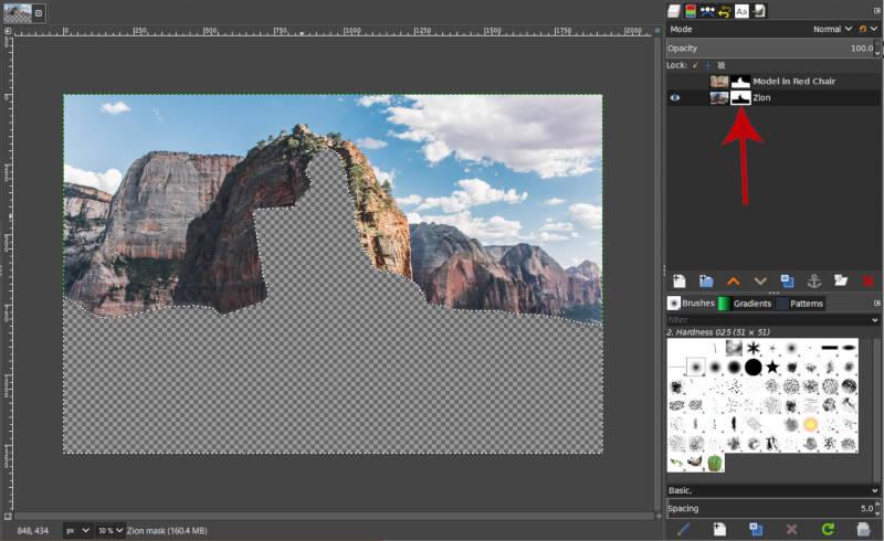 Választási réteg maszk fordítva GIMP 2 10 12