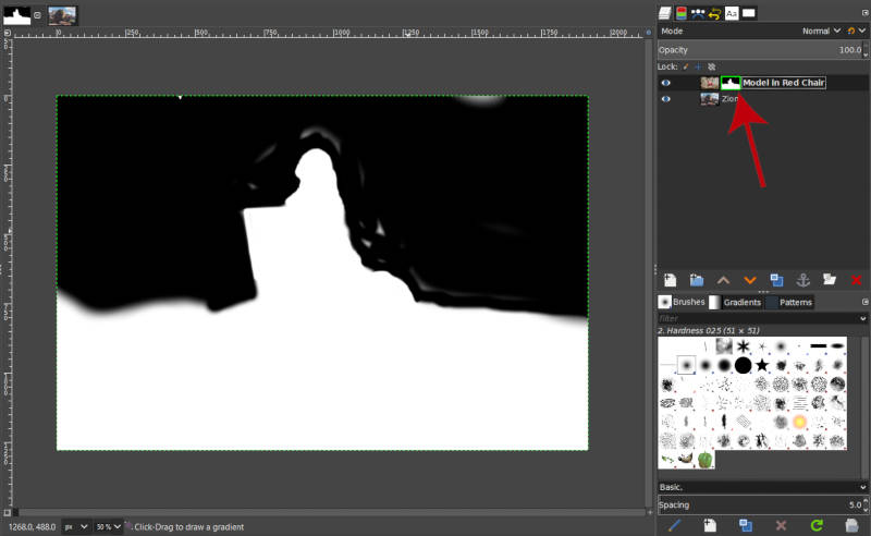 Show Layer Mask Enabled in GIMP