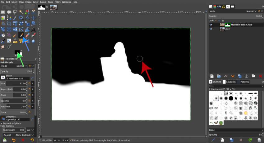 Rétegmaszk festés megjelenítése a GIMP ecsettel