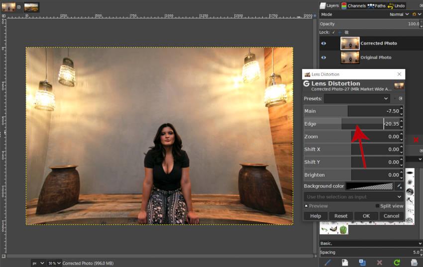 Hozzon létre pozitív torzítást a GIMP élcsúszkával