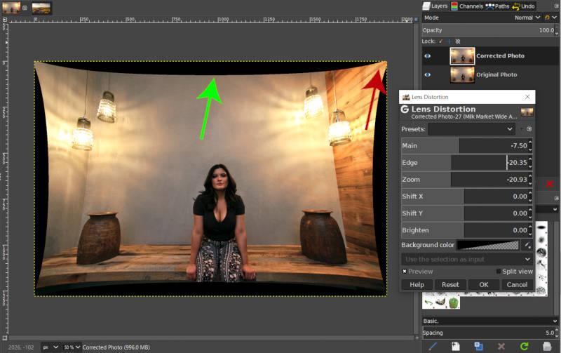 A GIMP fogsor torzítása a zoom csúszkával
