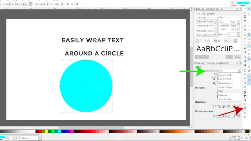 Alinhe sua elipse no Inkscape à página
