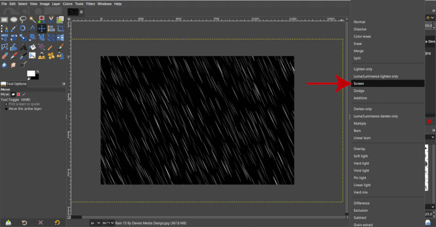 Change Rain Effect Layer to Screen Layer Mode