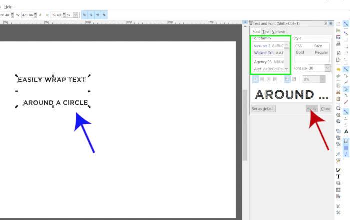 Alterando o estilo da fonte no Inkscape