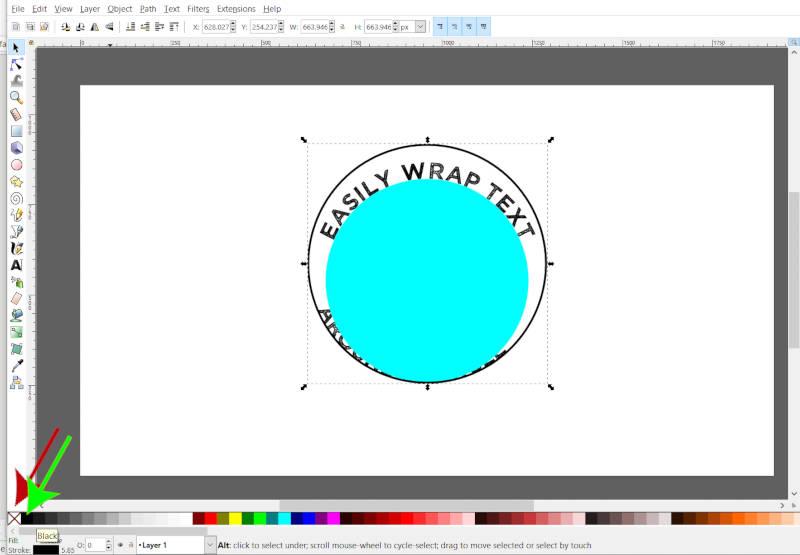 Clique para alterar a mudança de cor de preenchimento Clique para alterar a cor do traçado