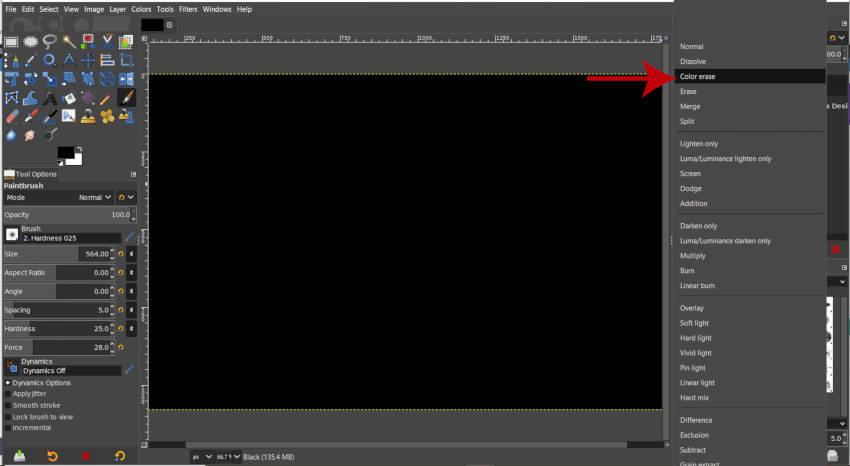 Szín törlés réteg mód ködszűrő GIMP