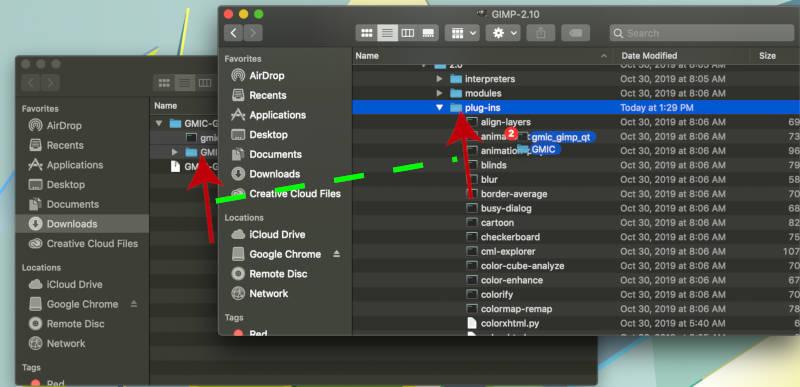 Húzza a GMIC beépülő fájlokat a GIMP beépülő modulok mappájába