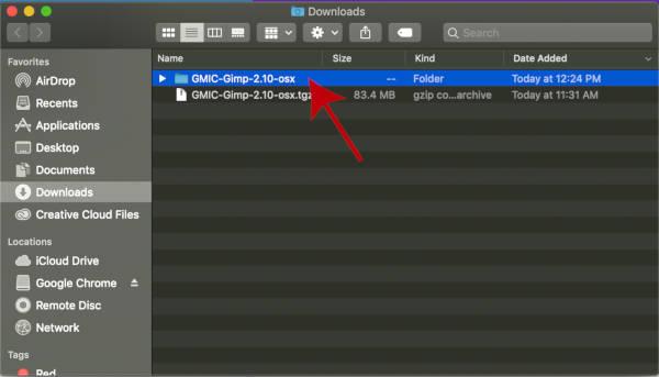 Kicsomagolt GMIC plugin a GIMP-hez a Letöltések mappában