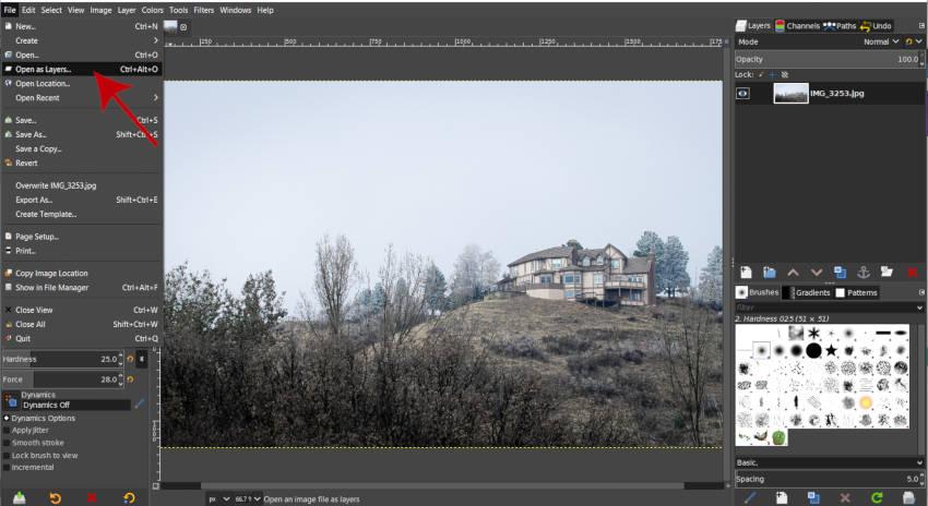 Fájl megnyitva rétegekként GIMP Fog letöltés